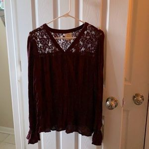 Knox Rose | Burgundy Wine Top With Lace Detail B38